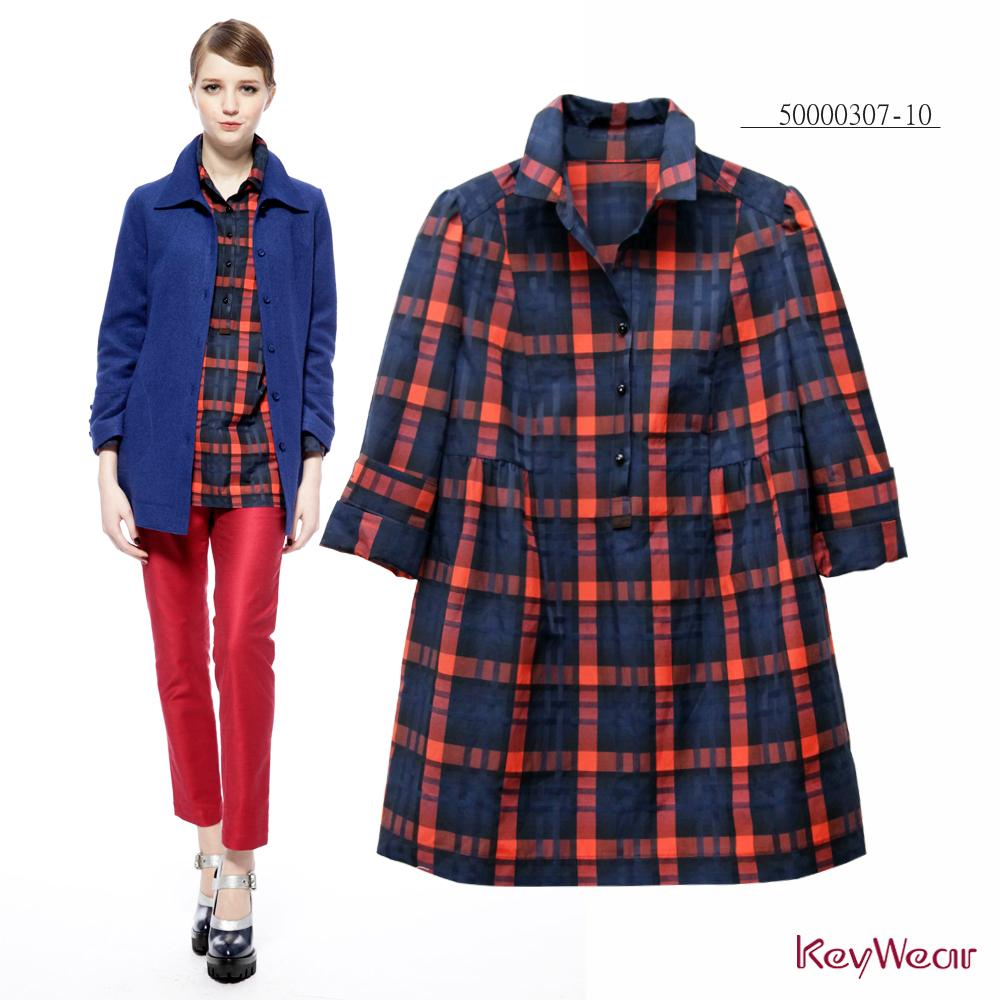 KeyWear奇威名品    精緻色紗格長版長袖上衣-橘紅色