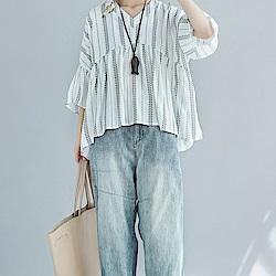 LEAF DESIGN韓系寬鬆感棉麻傘擺修飾上衣-白