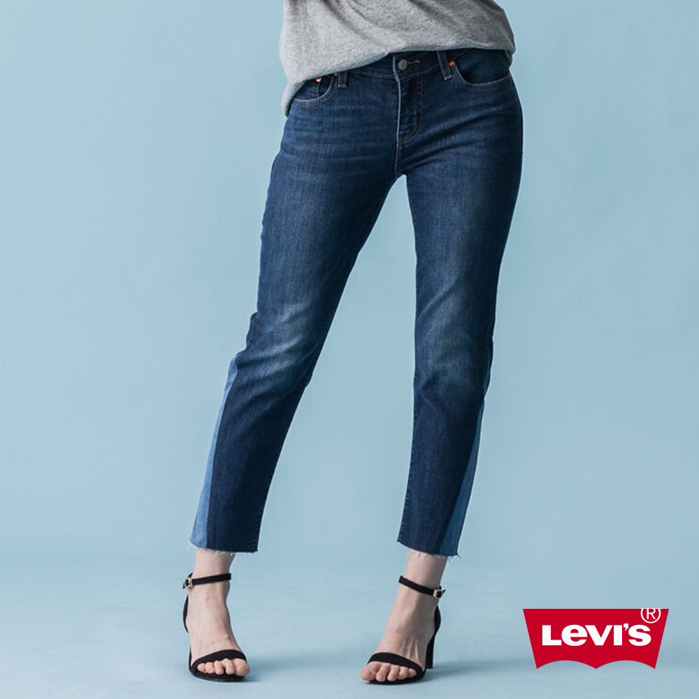 Levis 男友褲 中腰寬鬆版牛仔長褲 撞色拼接 彈性布料