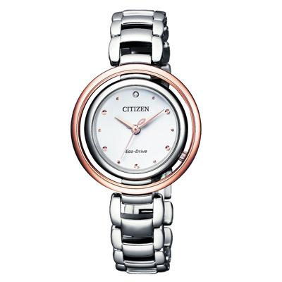 CITIZEN L 精彩時刻光動能晶鑽女錶(EM0668-83A)-櫻花粉