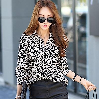 正韓 個性滿版豹紋垂墜長袖襯衫 (共二色)-N.C21