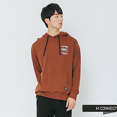 H:CONNECT 韓國品牌 男裝-隨性風圖文帽T-棕色