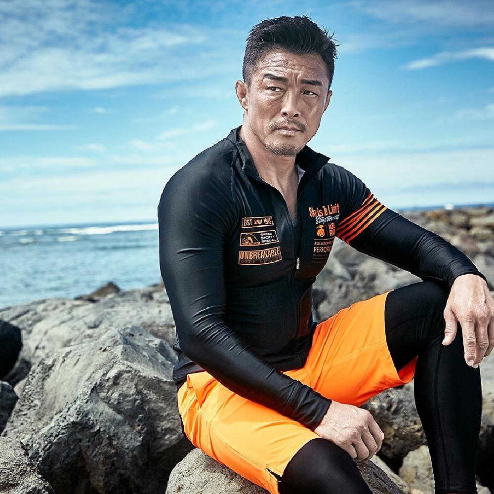 STL Rash Guard 男防曬衝浪游泳兩用防磨衣/水母外套 橘