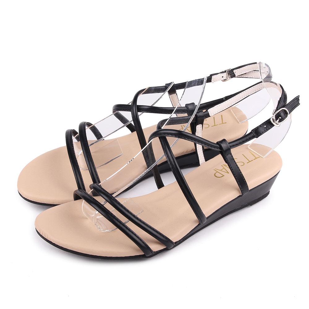 TTSNAP楔型涼鞋-高雅交叉中跟羅馬涼鞋 黑