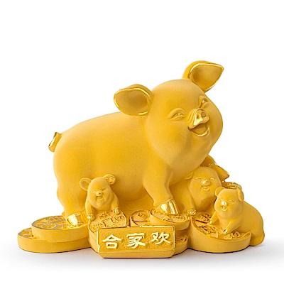 MANSTYLE 合家歡豬 黃金擺件 (約6.50錢)