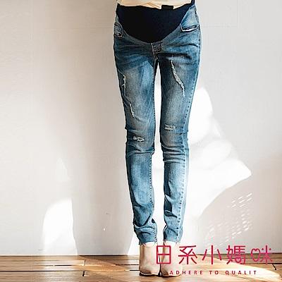 日系小媽咪孕婦裝-孕婦褲~褲管不修邊微刷破牛仔褲 M-XXXL