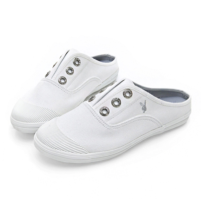 PLAYBOY 百搭首選穆勒帆布鞋-白-Y520911