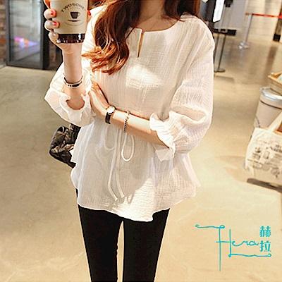 Hera 赫拉 小清新寬鬆棉麻束腰襯衫(黑白2色)