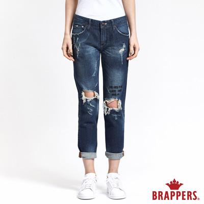 BRAPPERS 女款 BoyFriend 系列-女用膝蓋英文刺繡八分褲-藍