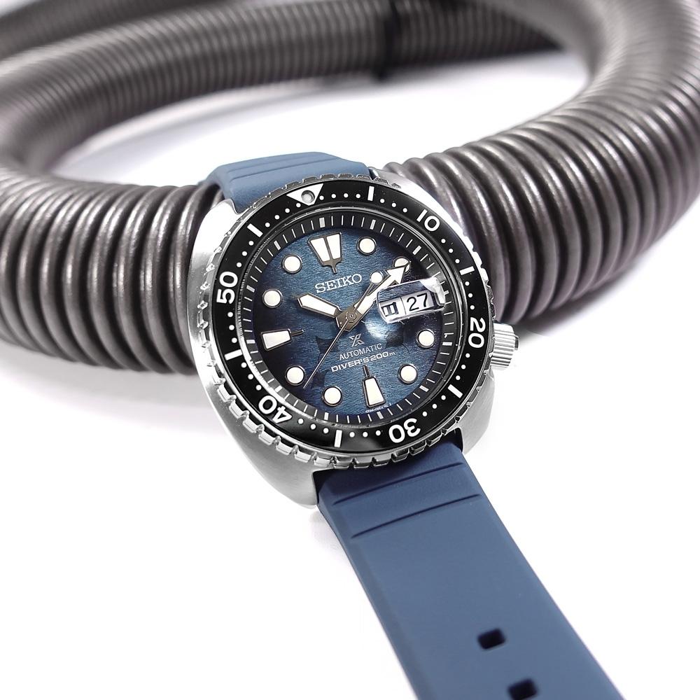 SEIKO 精工 PROSPEX 海龜 魟魚錶盤 潛水 機械錶 矽膠手錶-藍色/45mm