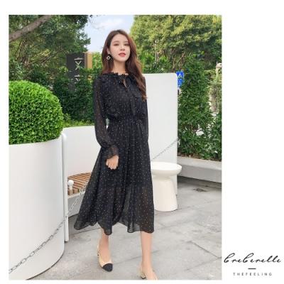 2F韓衣-復古波點雪紡長袖大碼連身洋裝-黑色(M)
