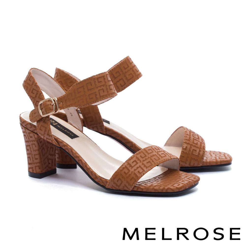 涼鞋 MELROSE 簡約細緻一字帶刀割牛皮粗高跟涼鞋-咖