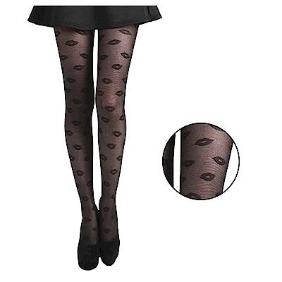 摩達客 英國進口義大利製Pamela Mann  黑色嘴唇彈性褲襪絲襪