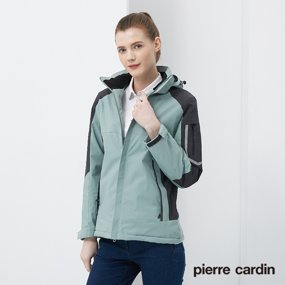 Pierre Cardin皮爾卡登 女裝 保暖抗寒加絨防潑水衝鋒衣外套-淺綠色(8205791-42)