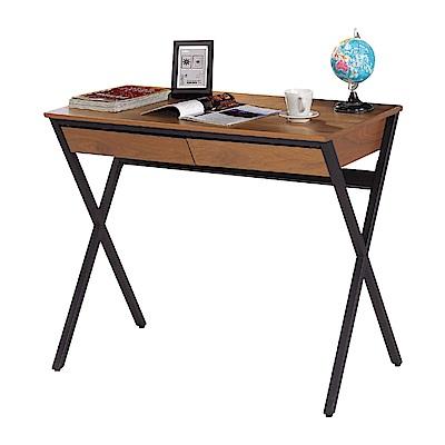 文創集 卡托時尚3尺木紋書桌/電腦桌-91x53x77cm免組