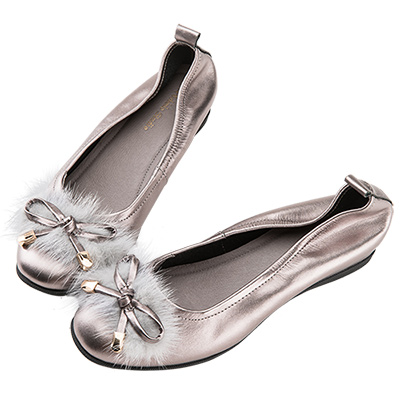 Robinlo 華麗低調蝴蝶結絨毛娃娃鞋 銀