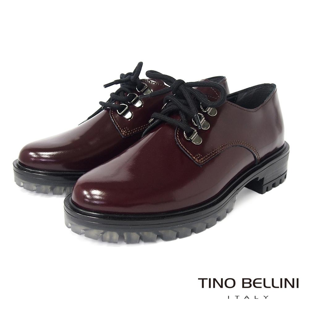 Tino Bellini 義大利進口英倫搖滾綁帶厚底鞋-酒紅