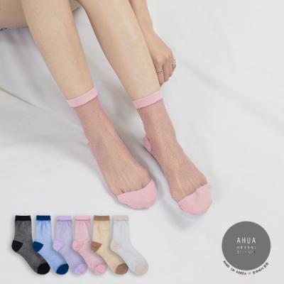 阿華有事嗎 韓國襪子 粉嫩金蔥透膚中筒襪 韓妞必備長襪 正韓百搭卡通襪