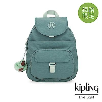 Kipling 溫柔森林綠前扣多隔層後背包-QUEENIE