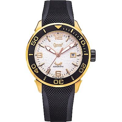 Ogival 愛其華 悍將自動機械錶(8005AGRB)-白x玫瑰金框/44mm