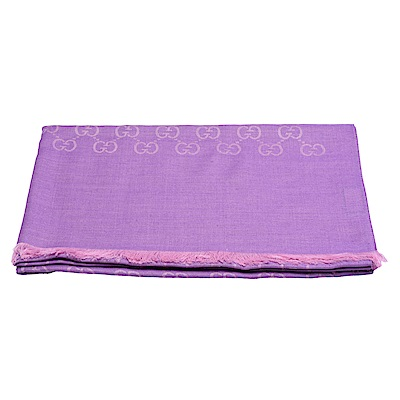 GUCCI 經典大G緹花羊毛混絲流蘇圍巾(粉紫-200X70cm)