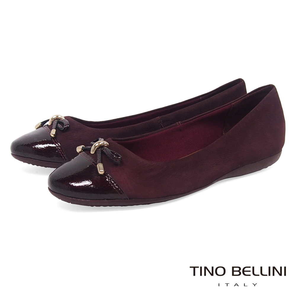 Tino Bellini巴西進口典雅舒足cap-toe平底娃娃鞋_酒紅