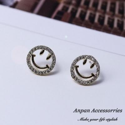 【Anpan 愛扮】韓東大門NYU款鑽石微笑滿臉925銀針耳釘式耳環