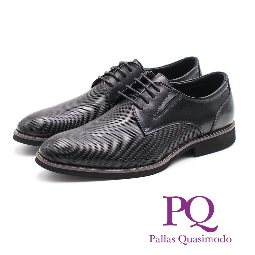 PQ 菱格質感車線輕量皮鞋 - 黑(另有棕)