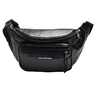 BALENCIAGA Explorer Arena系列品牌字母烙印羊皮腰包/斜背包(黑色)