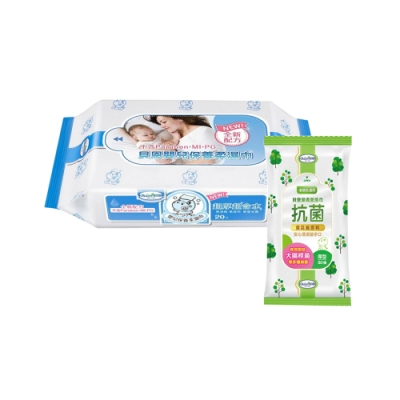 貝恩Baan NEW嬰兒保養柔濕巾20抽60入/箱+貝恩Baan潔膚抗菌柔濕巾30抽*1包