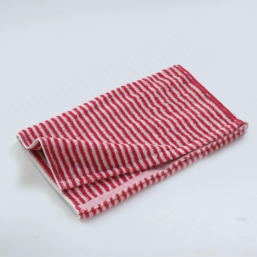 日本愛子 Hartwell 今治簡約細條紋浴巾-紅