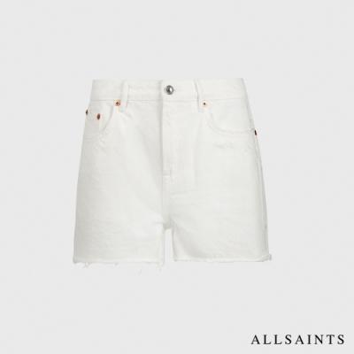 ALLSAINTS SERENE 低調刺繡造型純棉中腰牛仔短褲-白
