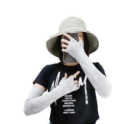 日本AUBE 蕾絲碎花抗UV涼感防曬袖套