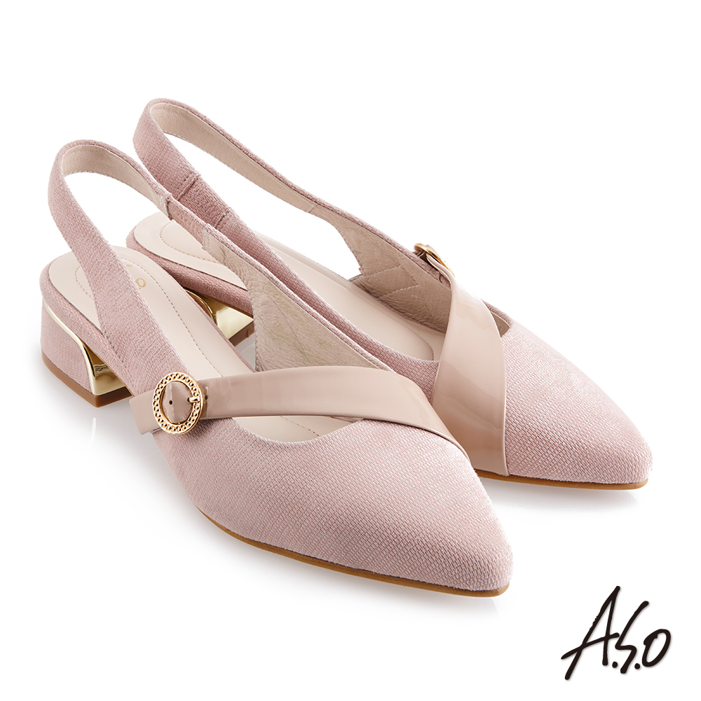 A.S.O時尚流行 健步美型時髦金屬粗跟穆勒鞋-粉紅