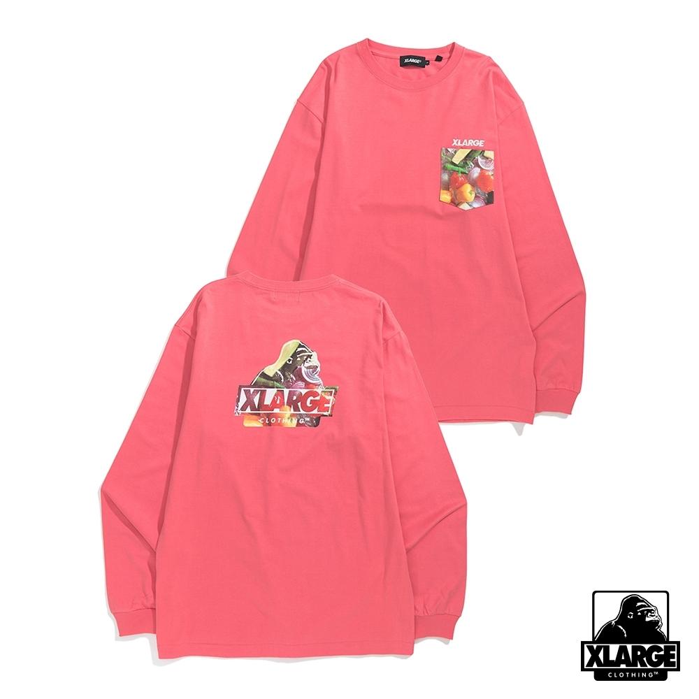 XLARGE L/S INGREDIENTS SLANTED OG POCKET長袖T恤-粉