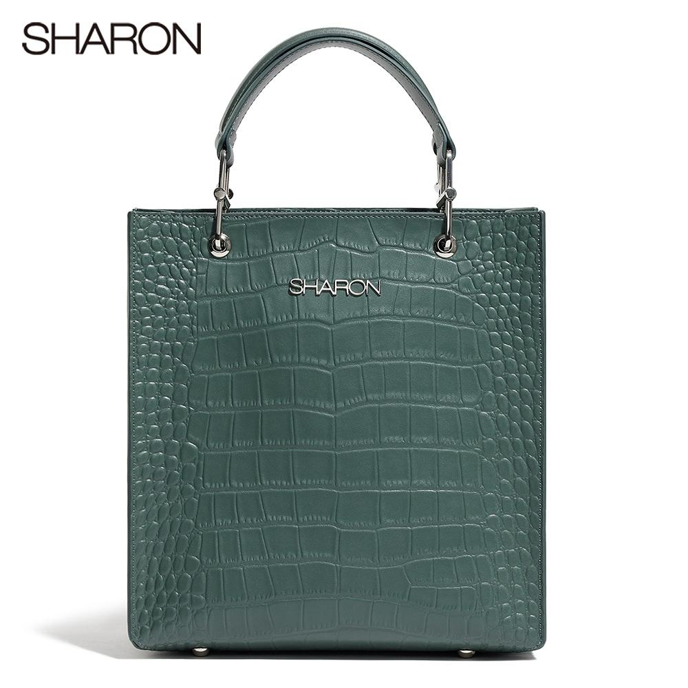【SHARON 雪恩】頭層牛皮Elizabeth鱷紋直筒托特包/斜背包(綠色42056GN)