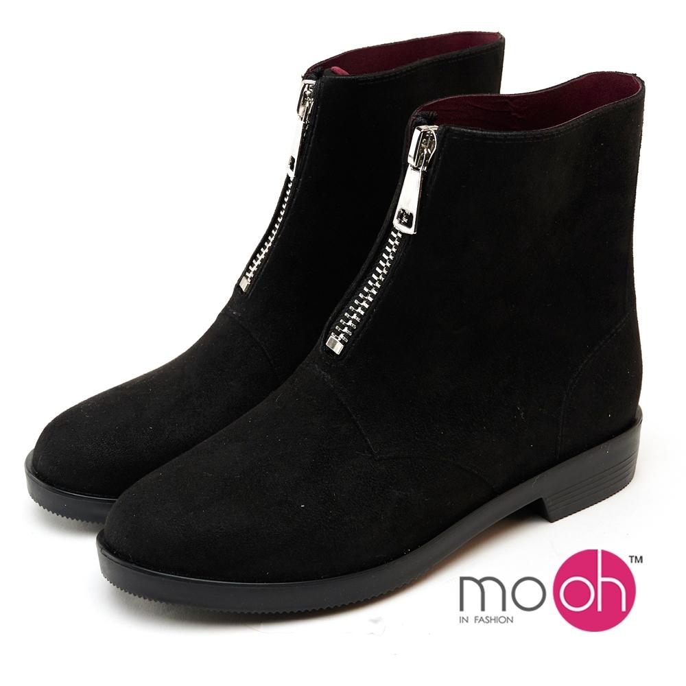 mo.oh防水麂皮絨拉鍊兩穿晴雨靴-黑色
