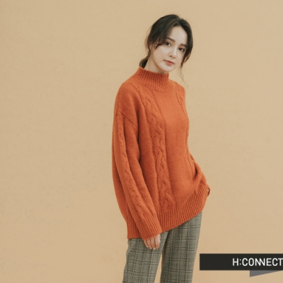 H:CONNECT 韓國品牌 女裝 - 立領麻花針織上衣  - 橘