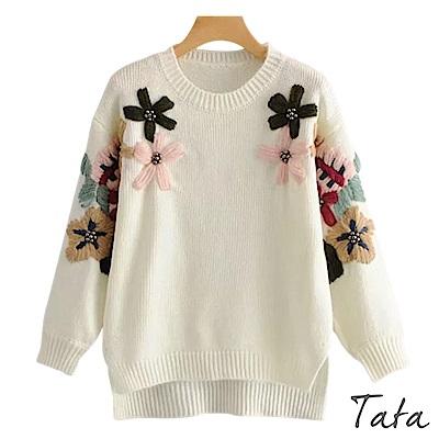 繡花珍珠前短後長針織上衣 共二色 TATA
