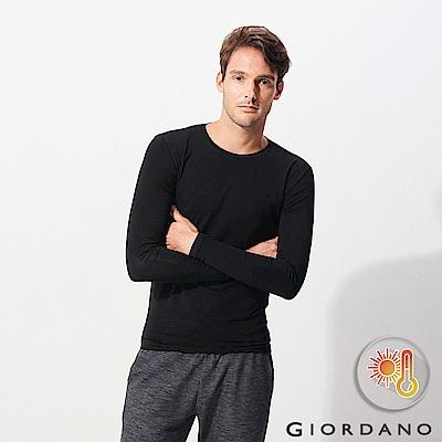 GIORDANO 男裝Beau-warmer plus+彈力圓領極暖衣-08 黑色