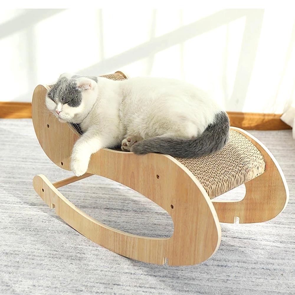 有喵病 瓦楞貓抓板貓咪木製貴妃搖床
