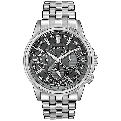CITIZEN星辰 光動能三眼都會手錶(BU2021-51H)-黑x銀/45mm