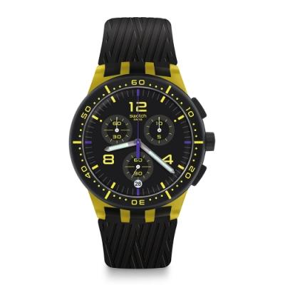 Swatch 原創系列手錶 YELLOW TIRE 走出戶外_黃色-42mm