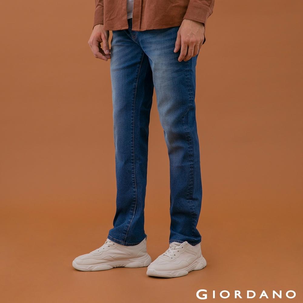 GIORDANO 男裝超彈力窄管牛仔褲 - 82 中藍