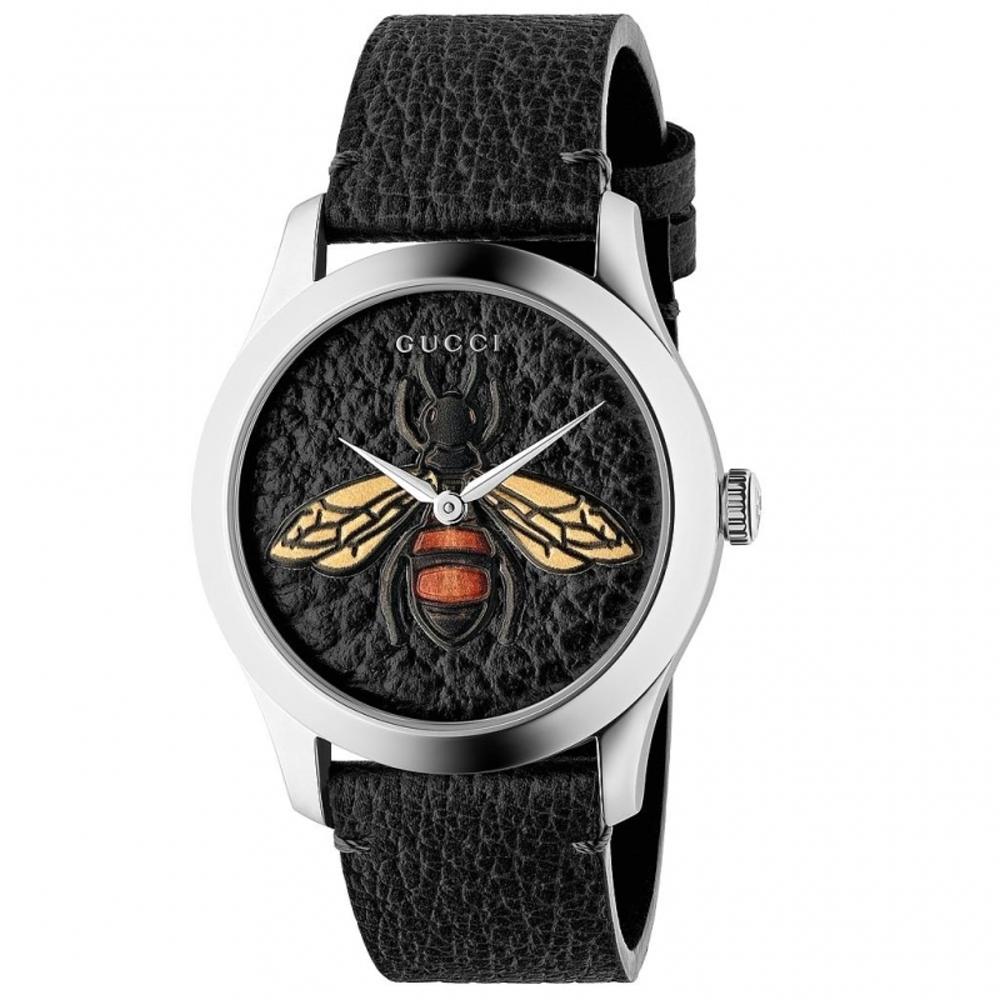 GUCCI G-Timeless前衛浮刻蜜蜂牛皮時尚腕錶/黑/YA1264067
