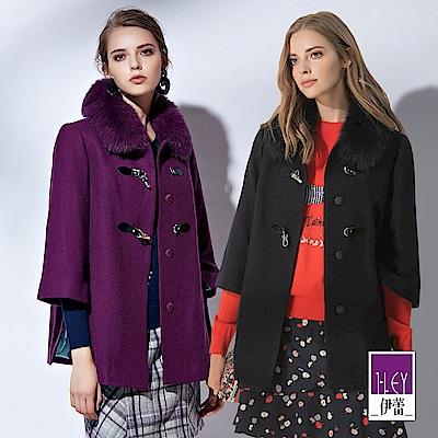 ILEY伊蕾 皮革造型釦狐狸毛草大衣(紫/藍)