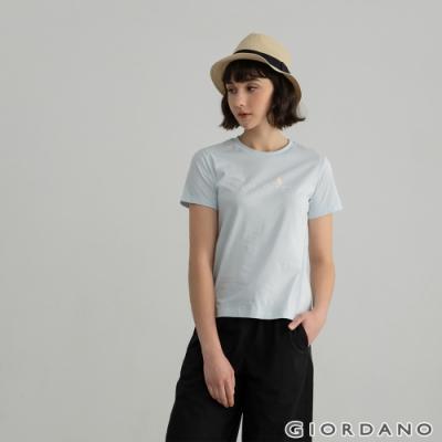 GIORDANO  女裝Positive印花T恤 - 62 民謠藍