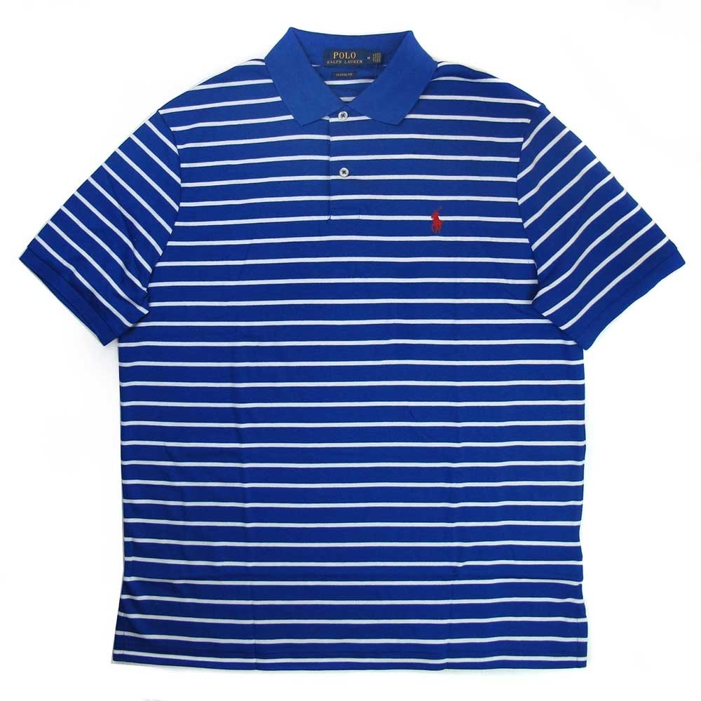 Polo Ralph Lauren 經典小馬Logo寶藍色條紋短袖Polo衫(Classic Fit)