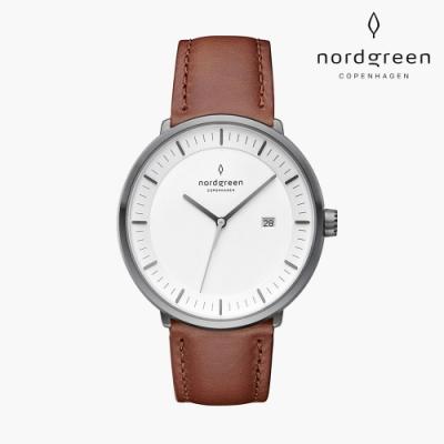Nordgreen Philosopher 哲學家 深空灰系列 復古棕真皮錶帶手錶 40mm
