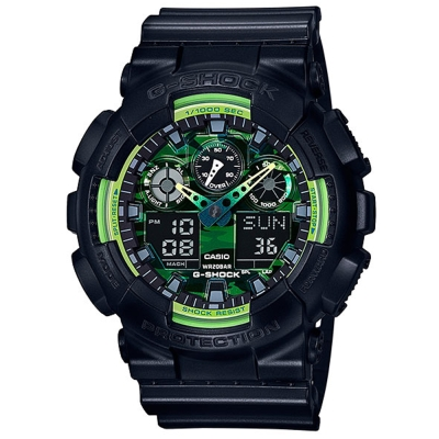 G-SHOCK 迷彩設計黃綠雙色多層次休閒運動錶(GA- 100 LY- 1 A)- 51 . 2 mm